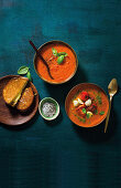 Roasted tomato and bocconcini soup