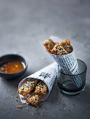 Prawn toast sticks with sesame (Asia)
