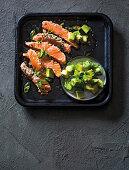 Japanese salmon tataki with spicy avocado and ponzu