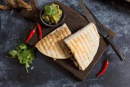 Quesadillas with guacamole (Mexico)