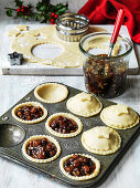 Christmas mince pies being prepared