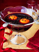 Christmas Punch made with cognac, spices and red wine