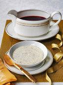 Christmas red wine and horseradish sauce