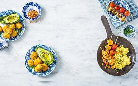 Bistro-style crumbed mushrooms, Harissa breakfast kebabs with scrambled eggs