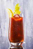 A Bloody Mary with ice cream and celery