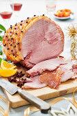 Picked ham with an orange glaze