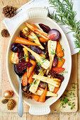 Glazed, roasted root vegetables