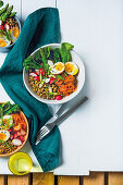 Rainbow bowl with lentils and soft-boiled eggs