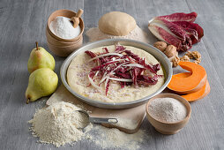 Ingredients for a kamut pizza with radicchio and pears
