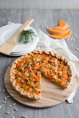 Spelt quiche with pumpkin and sausage meat