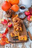 Apple and pumpkin sweet yeast cake with cinnamon