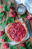 Apple pie with roses, frangipane filling and yeast dough
