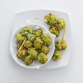 Fried stockfish and broccoli balls