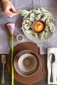 Sage and sweet potato skin tempura with spicy sweet potato cream