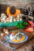 Gebratene Hähnchenbrust mit Kürbispüree und cremiger Pilzsauce