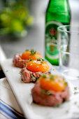 Beef tartare with raw egg yolks