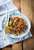 Spaghetti with chicken liver bolognaise