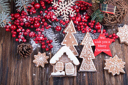 Christmass New Year decorations - Hollly berries, sweet Christmas gingerbread cookies