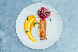 Pork Mangalitsa with carrot puree and sour red onion salad