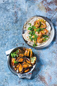 Grilled prawn and buttery corn tortillas, Portuguese sherry mussels with garlic bread