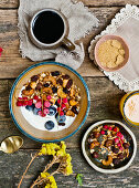 Breakfast granola, yogurt and fresh fruits