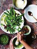Ligurian pesto and bean salad with creamy semolina