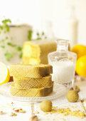 Slices of Pistachio and Lemon Battenberg Cake