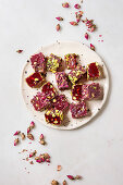 Turkish Delight different taste and colors with rose petals and pistachio nuts