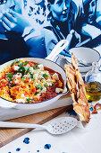 Greek Strapatsata (eggs, tomato, olive oil and feta)