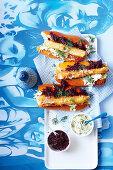 Greek Saganaki hotdogs with beetroot relish