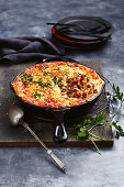 Cheat's cheesy one-pan lamb pastitsio