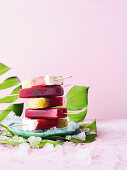 Cherry and cola ice pops and summer kiwi ice pops