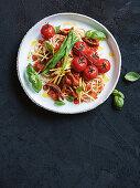 Lamb arrabbiata with spaghetti