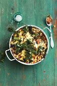 Vegetarian lentil and kale moussaka