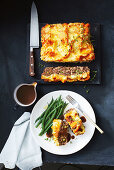 Meatloaf with a potato and pumpkin crust