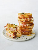 Garlic bread toasties with ham and cheese