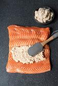 Salmon fillet spread with shrimp cream