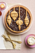 Christmas chocolate tart with coconut cream