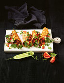 Cheesy shell tacos with minced meet