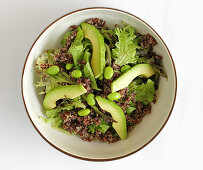 Quinoa salad with edamame and avocado