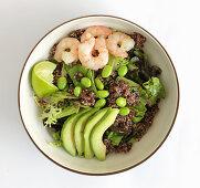 Quinoa salad with shrimps, edamame and avocado