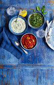 Tomato-Olive-Sauce, Salsa Verde and Watercress cream