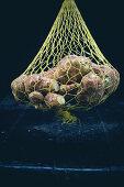 Jerusalem artichokes in a net