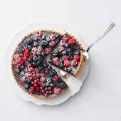 Chocolate tart with forest berries