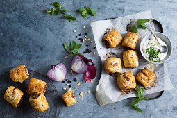 Moroccan minced lamb sausage rolls