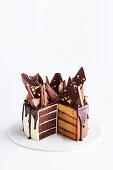 Tim Tam honeycomb cake, sliced (Australia)