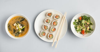 Miso soup, sushi and vegetable salad (Japan)
