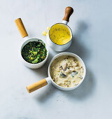 Salsa verde, calssic béarnaise sauce and creamy mushroom sauce