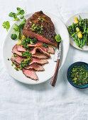 Fillet steak with salsa verde