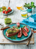 Argentinian chimichurri sauce with grilled steak